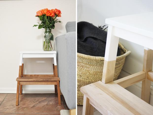 marche pied bekväm Ikea à customiser à peindre  DIY idée inspiration exemple haut des pieds et assise peint en blanc