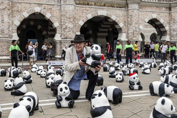 1,600 paper pandas displayed in front of Sultan Abdul Samad building in Kuala Lumpur